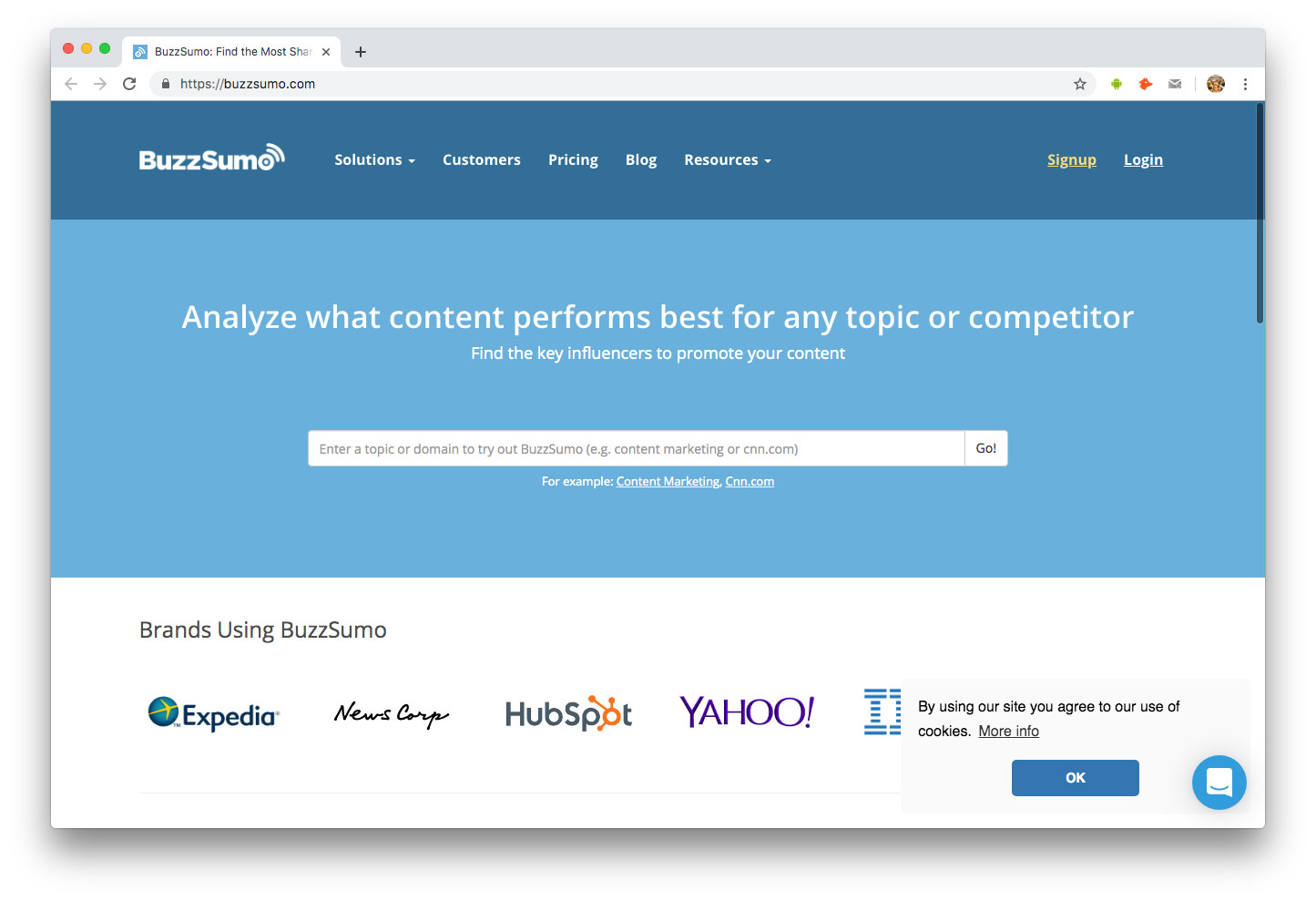Influenceurs Marketing Influence outils Buzzsumo