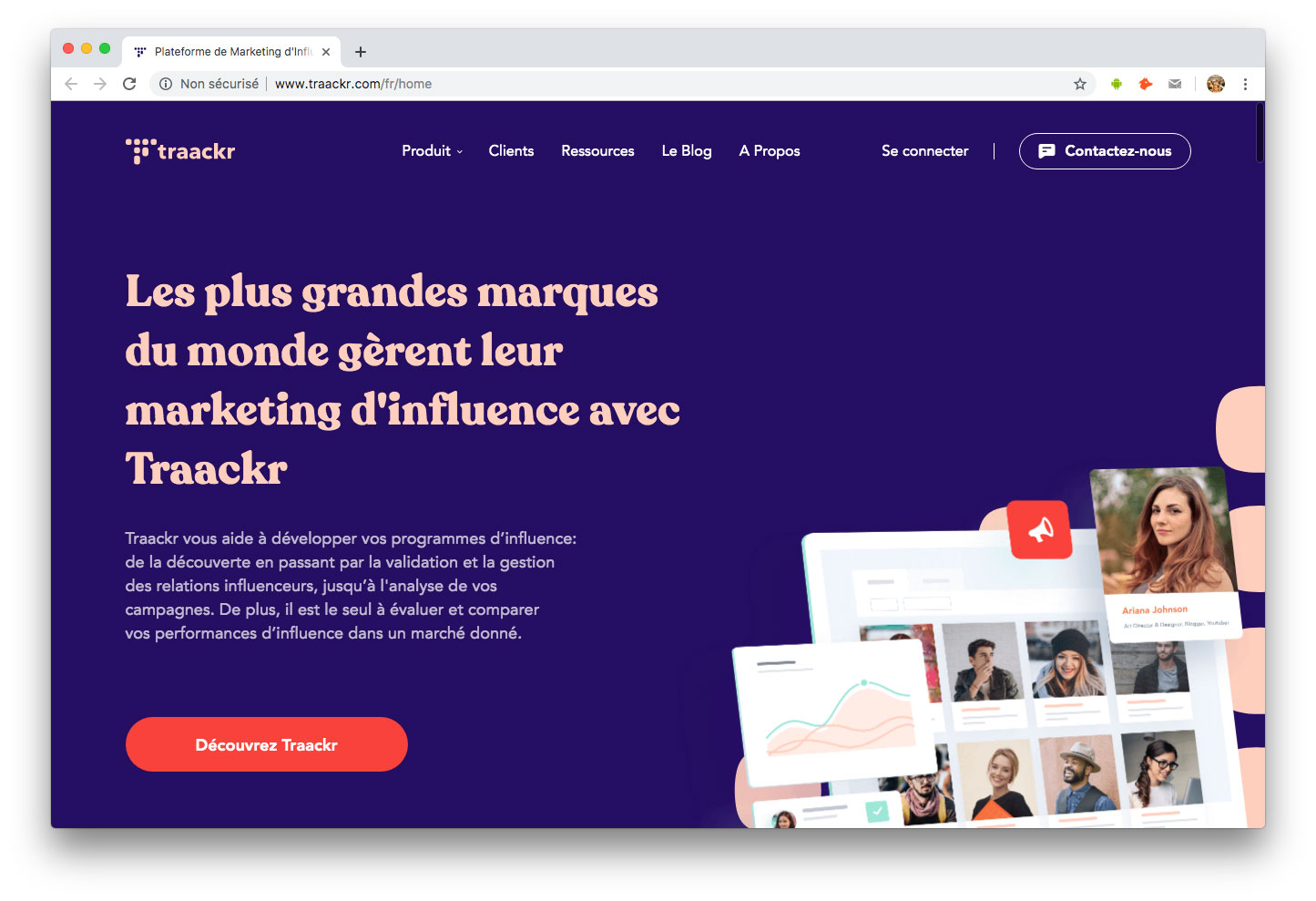 Influenceurs Marketing Influence outils Traackr
